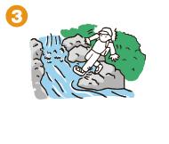 すべりやすい石や危険なところ(瀬や淵)に注意